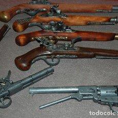 Militaria: LOTE DE CINCO PISTOLAS REPLICAS DE AVANCARGA + REVOLVER COLT 45 REPLICA + UNA DE REGALO. Lote 186236808