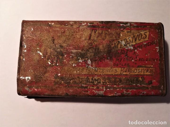 Militaria: LATA EXPLOSIVOS (250 gr pólvora fina del país). UNIÓN ESPAÑOLA EXPLOSIVOS. SANTA BARBARA - Foto 3 - 189490380