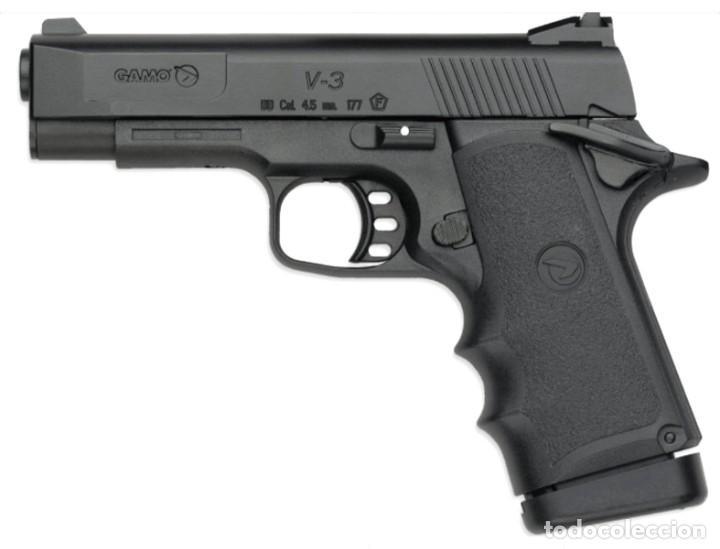 Militaria: Pistola Gamo V-3 Co2 + 5 CARGAS CO2 Pistola semiautomática de Aire comprimido por bombonas de CO2 de - Foto 2 - 194671395