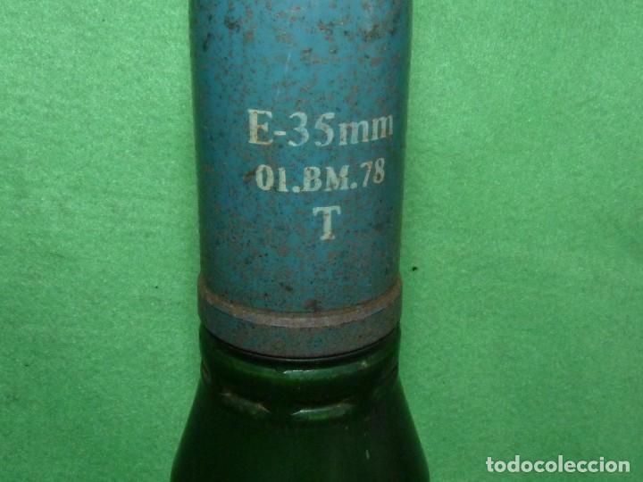 Militaria: RARO PROYECTIL COMPLETO 35 mm OERLIKON BMAR & Co 1977 OBUS INERTE 38,5 cms de alto - Foto 5 - 197825272