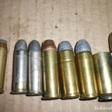 Militaria: LOTE CARTUCHOS REVOLVER CAL.50, 45, 44, 38 SPL, ETC, INERTES. Lote 198576420