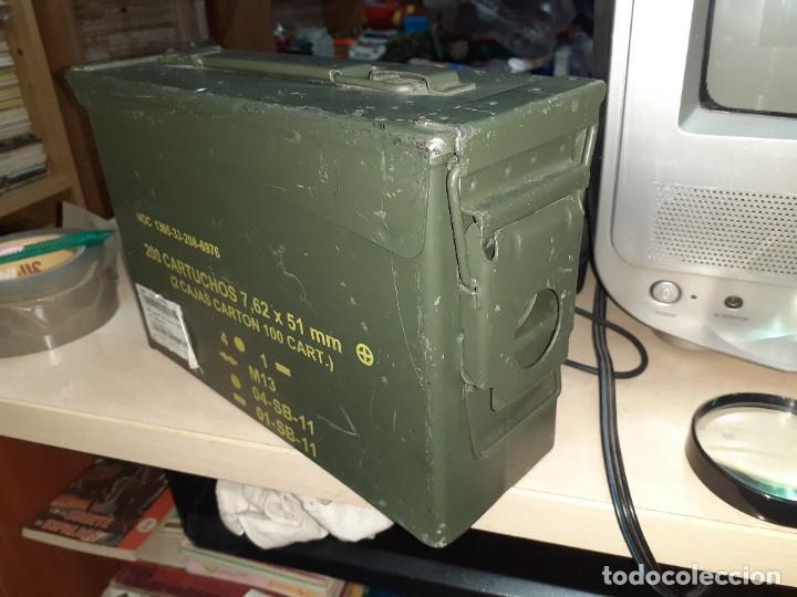 Militaria: Caja metálica hermética para munición 200 cartuchos 7,62 mm.General Dymamics. - Foto 3 - 207874221