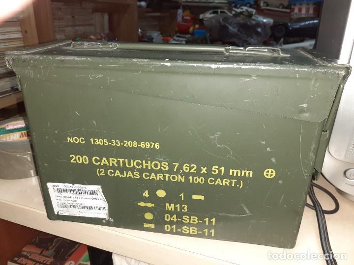 Militaria: Caja metálica hermética para munición 200 cartuchos 7,62 mm.General Dymamics. - Foto 4 - 207874221