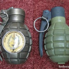 Militaria: 2 GRANADAS DECORACION MECHERO INERTES. Lote 210529647