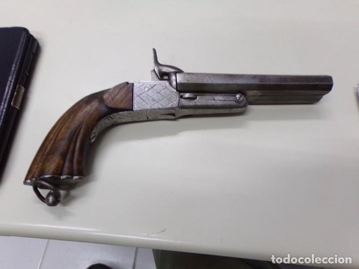 Militaria: pistola dos cañones con grabados dibujos en el metal - Foto 2 - 216747710