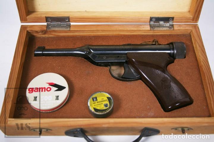 Militaria: Pistola de Aire Comprimido Hy Score, Target Model - Fabricada en USA, Mediados S. XX - Foto 2 - 218486321
