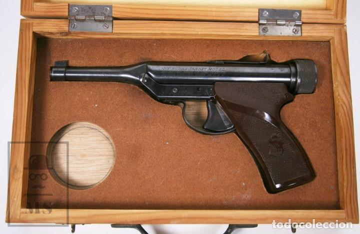 Militaria: Pistola de Aire Comprimido Hy Score, Target Model - Fabricada en USA, Mediados S. XX - Foto 4 - 218486321