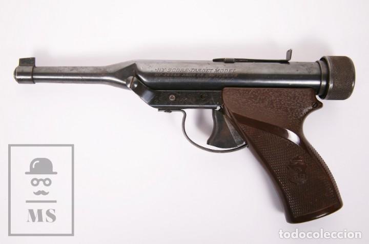 Militaria: Pistola de Aire Comprimido Hy Score, Target Model - Fabricada en USA, Mediados S. XX - Foto 6 - 218486321