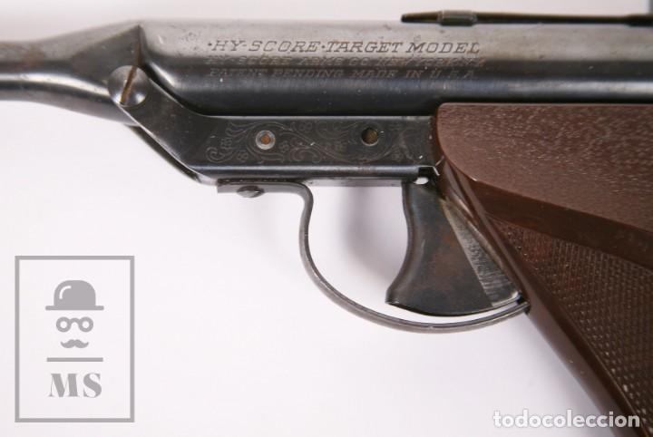 Militaria: Pistola de Aire Comprimido Hy Score, Target Model - Fabricada en USA, Mediados S. XX - Foto 8 - 218486321