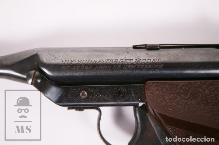 Militaria: Pistola de Aire Comprimido Hy Score, Target Model - Fabricada en USA, Mediados S. XX - Foto 9 - 218486321