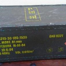 Militaria: CAJA MILITAR DE MUNICIÓN (VACÍA) DE MADERA Y METAL PARA ROMPEDORA 81MM, MIDE 67 X 32 X 22 CM,. Lote 218746126