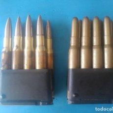 Militaria: 2PEINES COMPLETOS CON 8 CARTUCHOS DE PROYECCIÓN O SALVAS Y DE GUERRA , PARA FUSIL GARAND. INERTES. Lote 220192603