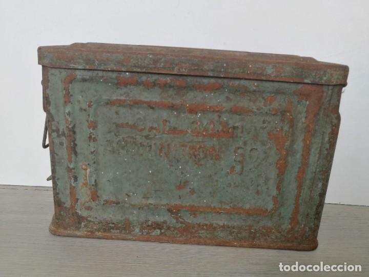 Militaria: CAJA CANCO DE MUNICIÓN DE 2ª II WW GUERRA MUNDIAL - CAL 30 M1 - US - AMMUNITION BOX PARA BROWING CON - Foto 8 - 222701056