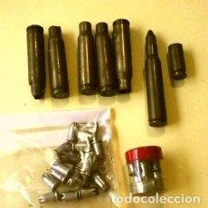 Militaria: LOTE 7 VAINAS CATUCHOS BALAS CASQUILLOS LATON CETME Y CARTUCHOS DE FOGUEO DISPARADOS Y SIN DISPARAR. Lote 225232178
