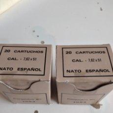 Militaria: C-2002 LOTE DE DOS CAJAS CON VAINAS DE 7,62 VER FOTOS ESTUDIO OFERTAS. Lote 226049910