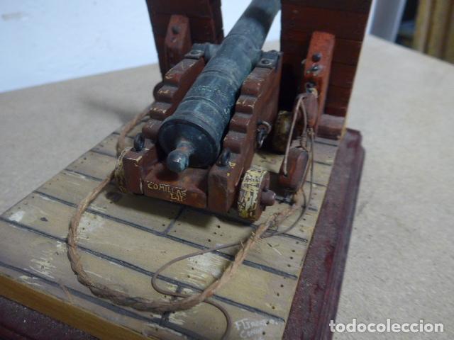 Militaria: Antigua maqueta reproduccion de cañon de metal o bronce y madera. - Foto 6 - 230935010