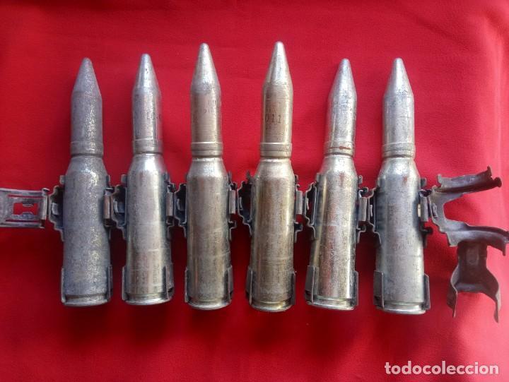 Militaria: Cinta con 6 proyectiles de 20mm de ejercicio totalmente inerte - Foto 2 - 231156475