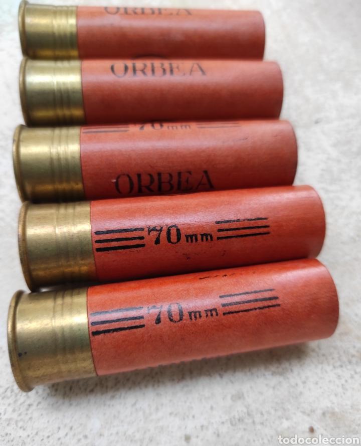 Militaria: Lote de 5 Cartuchos de Caza Orbea - Vitoria - Calibre 12 - 70mm - Vacíos y sin Uso - - Foto 2 - 232068415