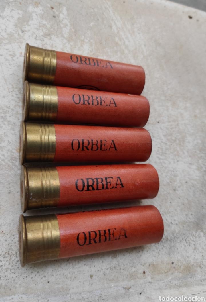 Militaria: Lote de 5 Cartuchos de Caza Orbea - Vitoria - Calibre 12 - 70mm - Vacíos y sin Uso - - Foto 5 - 232068415