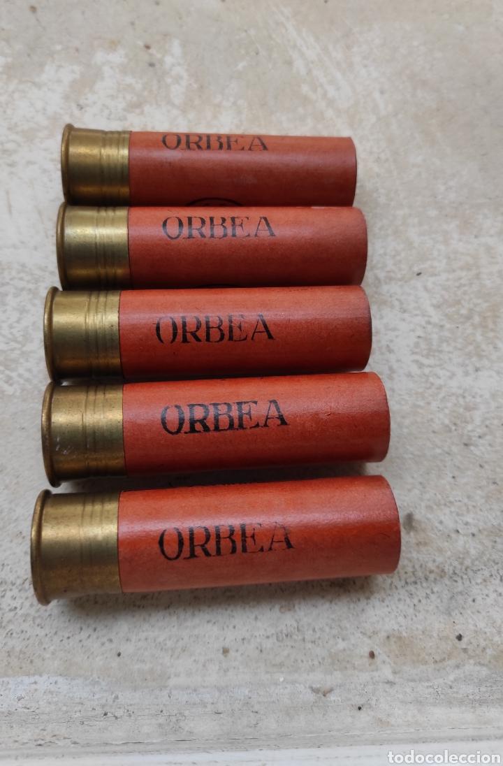 LOTE DE 5 CARTUCHOS DE CAZA ORBEA - VITORIA - CALIBRE 12 - 70MM - VACÍOS Y SIN USO - (Militar - Cartuchería y Munición)