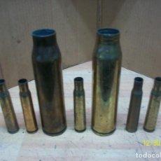 Militaria: LOTE DE 7 VAINAS INERTES-12,7 MM Y 30 MM. Lote 232494790