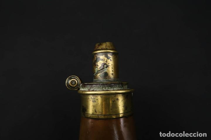 Militaria: Antigua Polvorera Inglesa de Cobre Sykes Patent - Foto 5 - 233425950