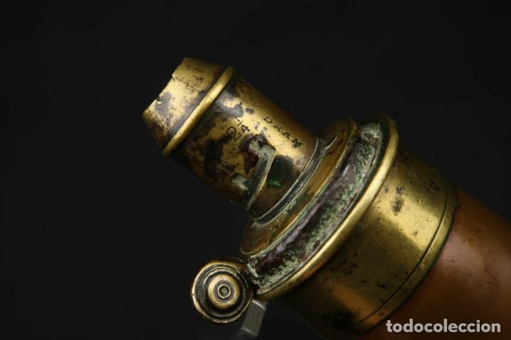 Militaria: Antigua Polvorera Inglesa de Cobre Sykes Patent - Foto 7 - 233425950
