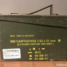 Militaria: CAJA DE MUNICIÓN 200 CARTUCHOS 7.62 X 51 MM. Lote 234408240