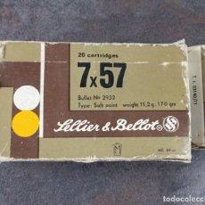 Militaria: CAJA CARTÓN DE MUNICIÓN 7×57 MAUSER SELLIER & BELLOT VACÍA. Lote 235473240