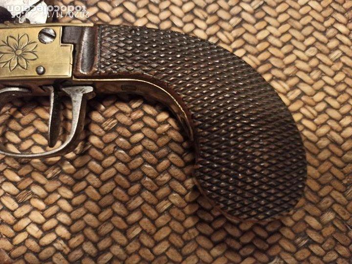 Militaria: Pistola avancarga original Bronce y madera - Foto 3 - 238419770