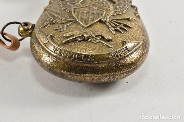 Militaria: MAGNIFICA RARA POLVORERA DE BRONCE MUY LABRADA CIERRE DOSIFICADOR 21 cm - Foto 3 - 240951980