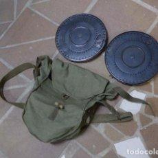 Militaria: ANTIGUA BOLSA MACUTO DE LONA CON 2 CARGADORES RUSOS DP COMUNISTA, GUERRA CIVIL O II GUERRA MUNDIAL. Lote 243255495