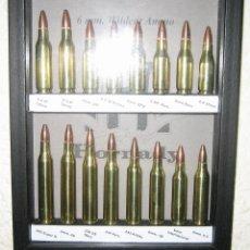 Militaria: CUADRO CARTUCHOS WIDCAT 6 MM.- INERTES. Lote 246085280