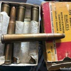Militaria: ANTIGUA CAJA DE 5 CARTUCHOS CAZA MAYOR KYNOCH .375 H&H MAGNUM TOTALMENTE INERTE. Lote 246267805