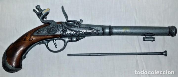 Militaria: Interesante réplica de pistola de duelo avancarga o pistola de chispa 39 cm. Envío gratis Península - Foto 3 - 252238515
