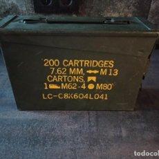 Militaria: CAJA DE MUNICIÓN 7.62MM X 51 EJERCITO NORTEAMERICANO USA M60 27.5 X 17.5 X 9.5 VACÍA. Lote 253537630