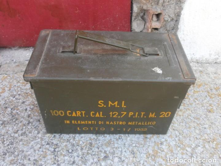 Militaria: Caja de Municiones Italiana 1962 altura 18 ancho 30X15.5 cm. buen estado - Foto 2 - 26965126