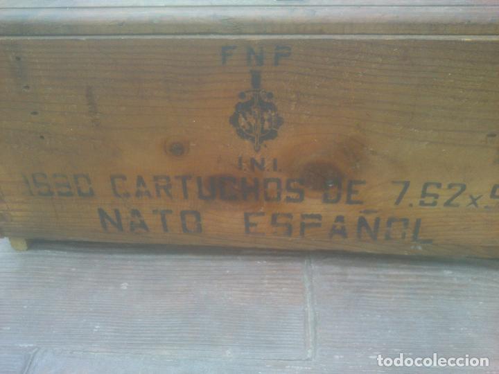 Militaria: Caja de madera de munición.Nato español - Foto 2 - 266578938