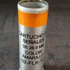 Militaria: CARTUCHO DE SEÑALES AMARILLO 26.5X80MM MARCA EXPAL INERTE. Lote 267801289