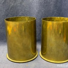 Militaria: DOS VAINAS PROYECTIL GUERRA CASQUILLO 1916 10CMS CALIBRE M 14 ALFONSO XIII 13X11CMS. Lote 268076484