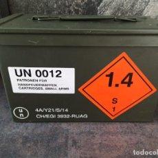 Militaria: CAJA DE MUNICIÓN 9X19 FRANGIBLE RUAG EJERCITO SUIZO RARA. Lote 268605469