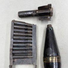 Militaria: GRANADA DE MORTERO VALERO DE 50 Y CARGADOR ITALIANO BREDA 6.5 X 52 CARCANO, INERTE. Lote 276921143