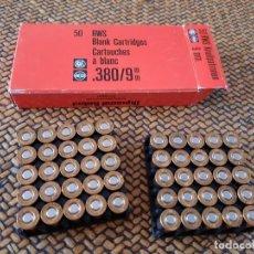 Militaria: CAJA DE 50 CARTUCHOS DE FOGUEO ALEMANES PARA REVÓLVER DE 9 MM. Lote 287346813