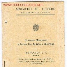 Militaria: NORMAS SOBRE OBSERVACION Y EXPLORACION QUIMICA. Lote 1383686