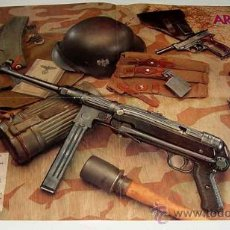 Militaria: ANTIGUO POSTER ARMAS Y EQUIPOS II GUERRA MUNDIAL ALEMANA - INFANTERIA - SUFUSIL M-1938, GRANADA DE M. Lote 13998427