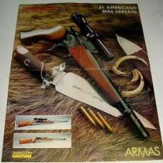 Militaria: ANTIGUO POSTER ARMAS THOMPSON CENTER - ARMS - EL AMERICANO MAS VERSATIL - RIFLE - CUCHILLO MUELA POD. Lote 13998517