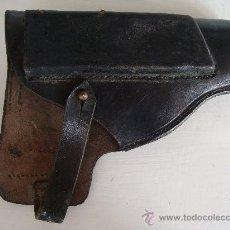 Militaria: PISTOLERA CON PORTACARGADOR. CUERO NEGRO. . Lote 23796414