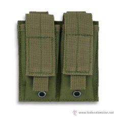 Militaria: FUNDA 2 CARGADORES DE PISTOLA EN NYLON, VERDE. Lote 46609908