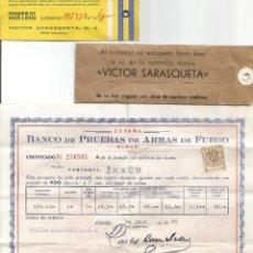Militaria: VICTOR SARASQUETA S.A. EIBAR 1968 PRUEBA ARMA DE FUEGO ESCOPETA DE CAZA ETIQUETA CONTROL. Lote 94327100