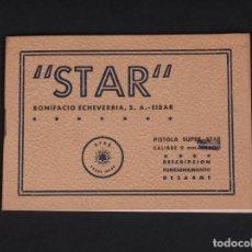 Militaria: MANUAL PISTOLA SUPER STAR 9MM PARABELLUM. Lote 71488491